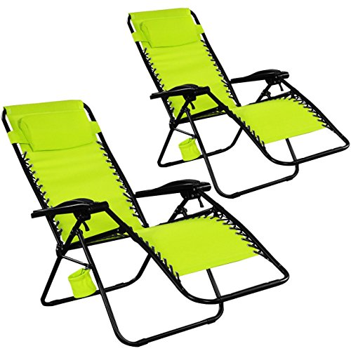 Set Of 2 {Two) Zero Gravity Chairs Lounge Patio Folding Recliner Outdoor Green W/Cup Holder - Designer Outlet Essex