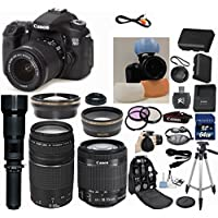 Canon EOS Rebel 70D 20.2 MP CMOS Dual Pixel DSLR Camera HD Video with EF-S 18-55mm f/3.5-5.6 IS STM Zoom Lens + Canon 75-300mm III ZOOM Lens + 650-1300mm Mega Zoom Wildlife Shooting Lens + Telephoto & Wide Angle Lenses + 3pc Filter Kit + Camera Deluxe Case + Professional Grip Strap + 50