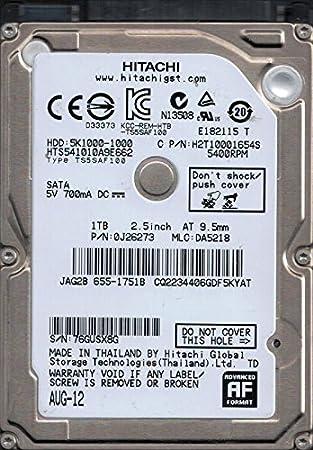 HTS541010A9E662 P//N DA5218 MAC 655-1751B Thailand Hitachi 1TB 0J26273 MLC