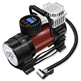Digital Tire Inflator – GOOLOO Electric 12V DC 150 PSI Portable Auto Air Compressor Pump with Preset Pressure Shut Off Gauge and Emergency Light for Car Tyre, Motorcycle, Bicycle and Other Inflatable