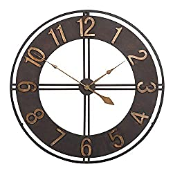 CIFFOST Wrought Iron Wall Clock Round Decorative Metal Distressed Iron Roman Numeral Clock 60CM