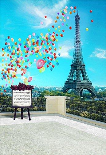 AOFOTO 3x5ft Eiffel Tower Backdrop Paris Landscape France City Architecture Balcony Colorful Balloons Easel Photography Background Romantic Terrace Fancy Aerial Veranda Girl Bride Photo Studio Props