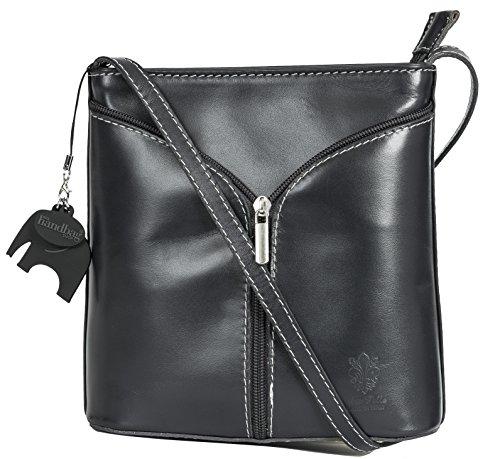 Charm Alice and Shoulder Dark Storage Mini Italian Plain Leather Bag Protective Bag LIATALIA with a Body Cross Grey wOpqwUg