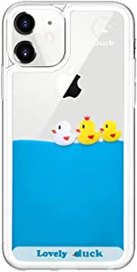 LUVI Compatible with iPhone 12 Case Liquid Moving Quicksand Funny Cute Cartoon Lovely Duck Flowing Floating Waterfall Protective Cover Soft Silicone Rubber Protection Cover Case 6.1 inch