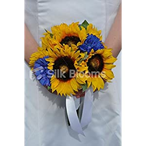 Beautiful Sunny Yellow Artificial Sunflower and Blue Cornflower Bridesmaid Bouquet 16