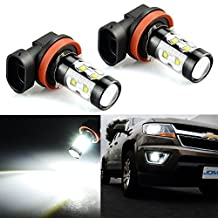 JDM ASTAR Extremely Bright Max 50W High Power H11 LED Bulbs for DRL or Fog Lights, Xenon White