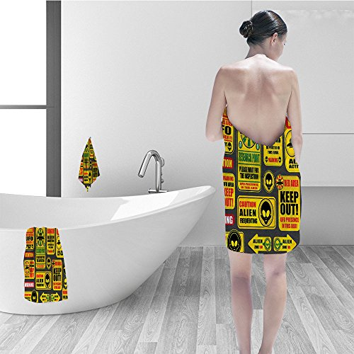 Hand towel set Outer Space Decor Warning Ufo Signs Alien Faces Heads Galactic Paranormal Activity Design Fabric Bathroom Decor Yellow by Nalahomeqq