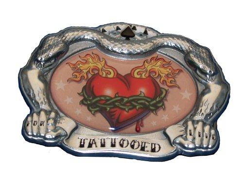 [Tattooed Heart Belt Buckle Tattoo Thorns Flames COOL] (Heart Cool Belt Buckle)