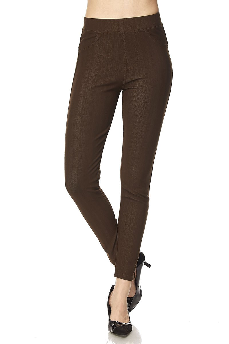 PALI USA Premium Quality Jeggings Regular and Plus Super Stretch Jean Leggings Pants w/Pockets (Brown, One Size(0-12))