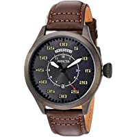 Invicta Men's 'Aviator' Quartz Stainless Steel and Leather Casual Watch, Color:Brown (Model: 22975)