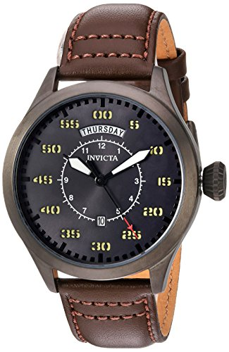 Invicta Men's 'Aviator' Quartz Stainless Steel and Leather Casual Watch, Color:Brown (Model: - Watch Mens Aviator