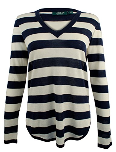 Lauren Ralph Lauren Plus Silk-Blend V-Neck Sweater (2X, Navy/Ivory Striped) ()
