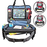 """BE Family Travel - Kids Car Seat Toddler Travel Tray with Unique Fold-in """"No Need to Unload Again"""" Side Pockets with Zipper Blue Lap Play Snack Tray"""