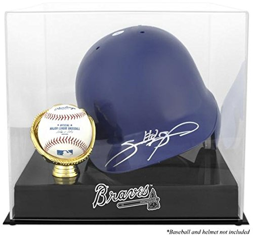 Atlanta Braves Batting Helmet with Ball Holder Logo Display (Acrylic Atlanta Braves Baseball)