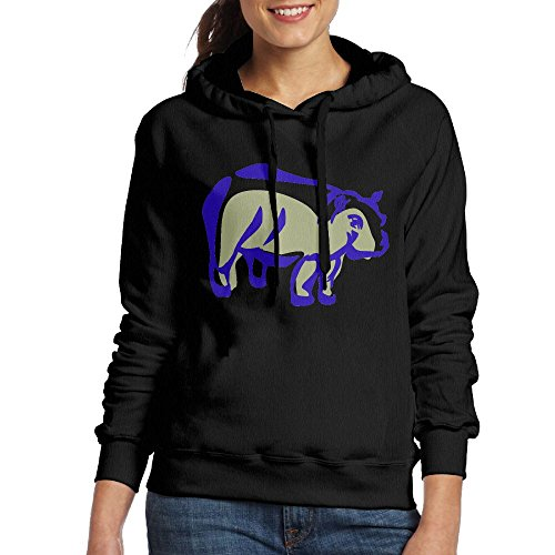 IBSJK Blue Light Hippopotamus Women's Long Sleeve Hoodies Without Pocket - Hippopotamus Framed