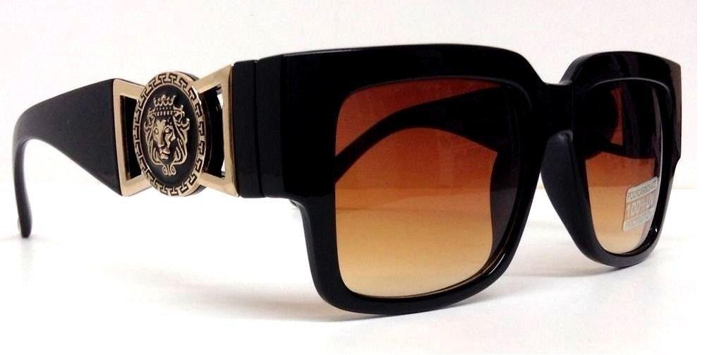 Black Square Gold Lion Head Medallion Wayfarer Sunglasses Brown Lens (MED-3B)