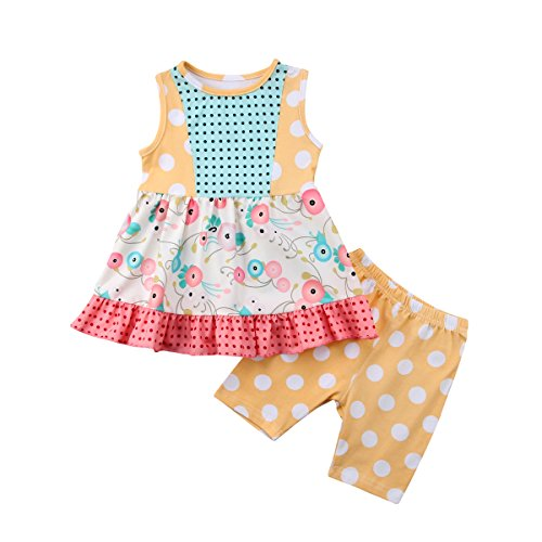 Alione Little Sister Big Sister Matching Outfit Baby Floral Romper Bodysuit Girls Dress Pants Clothes Set (Big Sister, 2-3T)