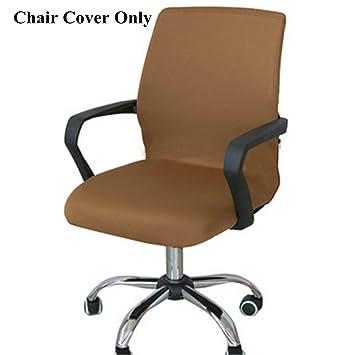 Funda de silla Caveen, con un estilo simple, elástico y extraíble, para oficina, sillones o sillas, café, Large