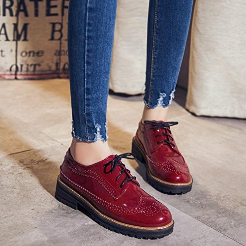 Scarpe TAOFFEN Donne Moda Red Brogue qS8vw6