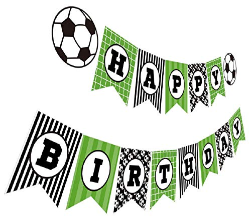 Silvima Soccer Birthday Banner, Soccer Theme Happy Bday Bunting Sign, Soccer Party Decoration