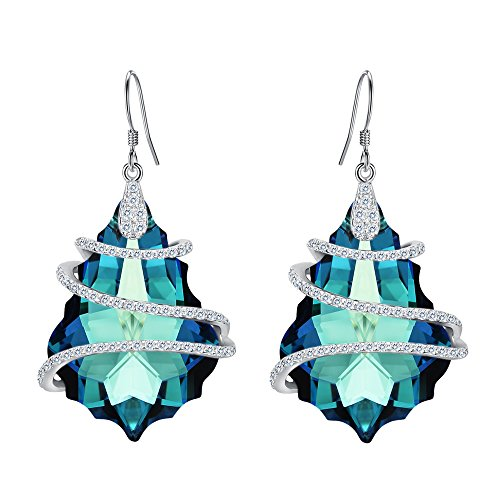 - EVER FAITH 925 Sterling Silver CZ Baroque Hook Dangle Earrings Bermuda Blue Adorned with Swarovski crystals