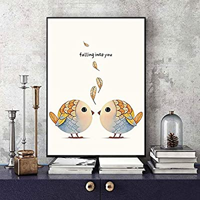 WSNDGWS Small Fresh Love Bird Pintura Decorativa Core Decoración ...