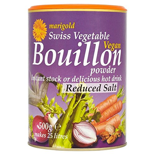 Marigold Swiss Vegetable Vegan Bouillon Powder Reduced Salt (500g) Purple - Pack of 6 by Marigold (Tins)