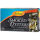 Roland Foods Premium Naturally Smoked Medium Oysters in Oil, Wild Caught, 3 Oz Tin