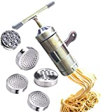 Aiber Home-made Iable Press Pasta Noodle Maker Manual Turner Slicer Interchangeable Head with 5 Noodle Style