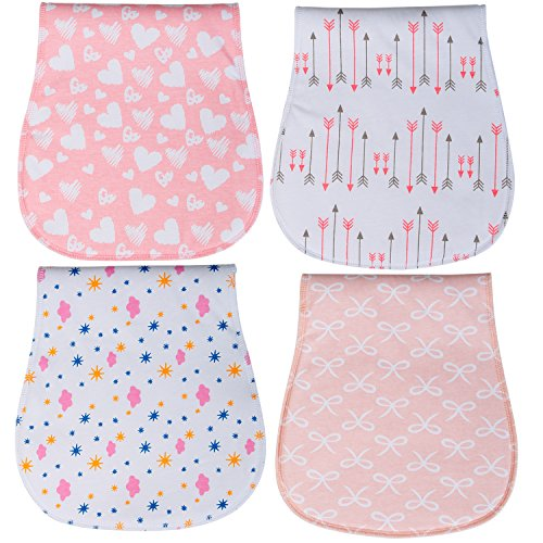 Baby Burp Cloths 3 Layer Burp Bibs Curved Soft and Absorbent for Girl 4 Pack Burping Towels by YOOFOSS