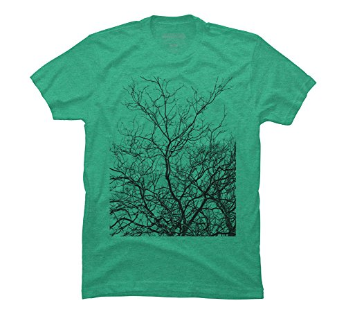 New Mens T-shirt Tree Branch - Design By Humans abstract tree lines Men's Large Lime Green Heather Graphic T Shirt