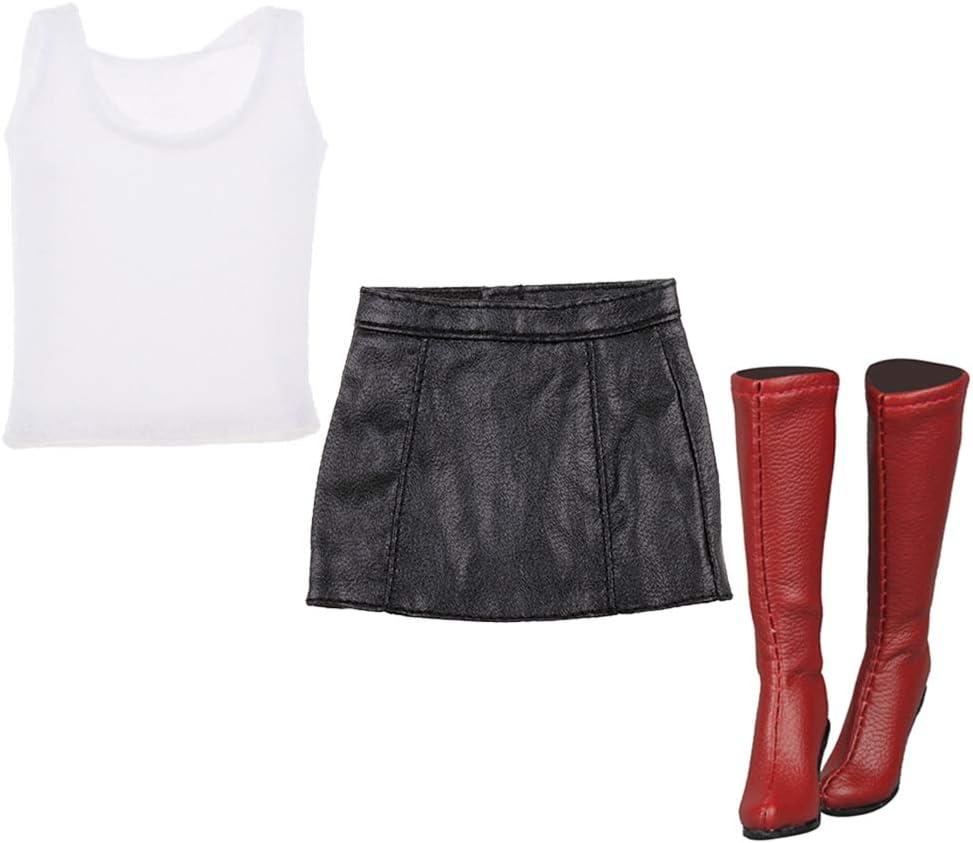 FLAMEER Escala 1/6 Camiseta Sin Manga Blanco, Falda Corta de PU Cuero Negro, Botas Rojo para 12'' Figura Femenina de Acción