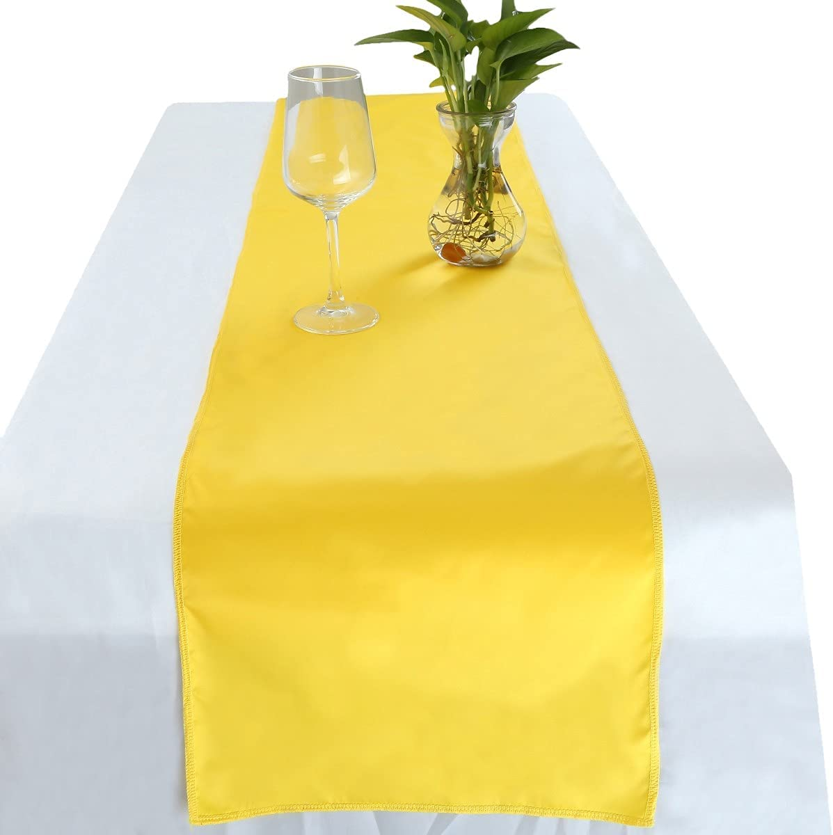 Rockcloud 12 x 72 Inch Yellow Table Runner for Wedding Banquet Decorations, Christmas, Birthday, Graduation, Prom, Party Table Decor