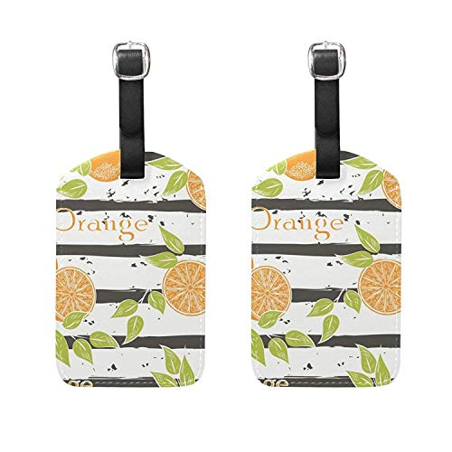 (Set of 2 Luggage Tags Leaf Orange Fruit Suitcase Labels Travel Accessories)