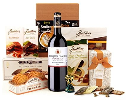 Luxury Gift Hamper Delightful Surprise Red Wine And Chocolates Box Available For Next Day Delivery Send Wedding Sgs 084