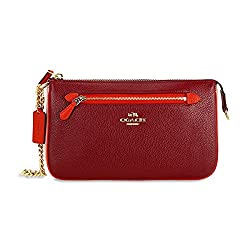 COACH Women's Color Block Polished Pebbled Leather Nolita Wristlet 24 LI/Black Cherry Clutch