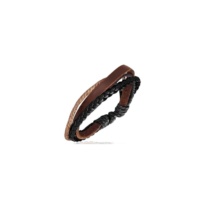 "Fashion Triple Multi Wrap Rope Braided Adjustable Brown Leather Bracelet Length: 0.216"""