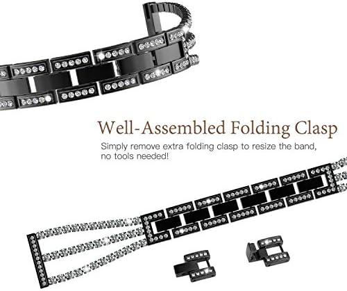 TiMOVO Replacement Band Compatible with Galaxy Watch Active/Active 2, 20mm Stylish Rhinestone Watch Replacement Strap Fit Galaxy Watch 42mm/Gear Sport/Garmin Vivomove/HR/Vivoactive 3 – Black 51Luum28i 2BL