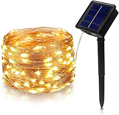 Amazon Com Tasodin Solar Powered Led String Lights 32 8ft 10m 100leds 8 Modes Solar Fairy Lighting Waterproof Bright Warm White Color Micro String Copper Wire Ultra Thin Rope Light Garden Outdoor