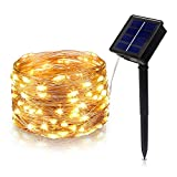 Tasodin Solar Powered LED String Lights, 32.8Ft/10M 100LEDs, Solar Fairy Lighting, Waterproof Bright Warm White Color, Micro String Copper Wire Ultra Thin Rope Light