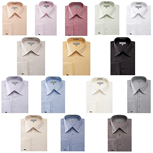 Sunrise Outlet Men's Herringbone French Cuff Shirt - Ivory 18.5 36-37