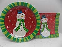 Whimsical Snowman Jolly Holidays Party Pack 18 Plates 20 Napkins