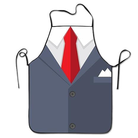 Amazon.com: Hehe tan Unisex traje corbata roja delantal para ...