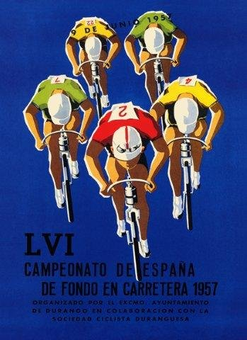 CANVAS BIKE: Bicycle Race Ad Spain Bicycle 1957 World Race Vintage Poster 36'' X 48'' Image Size Reproduction on CANVAS. Several More Sizes Available! by Heritage Posters