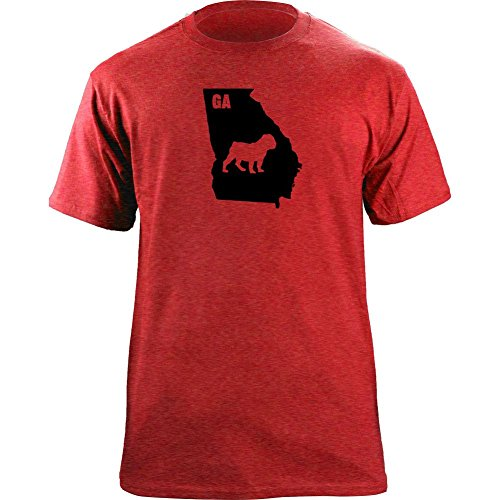 (Original I Bulldog Georgia Classic Style T-Shirt (L, Ultra-Thin Red))