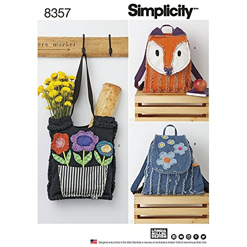 Simplicity SIM PAT 8357 Rag Quilted Bags, OS (ONE Size) (Patterns Quilted Bag)