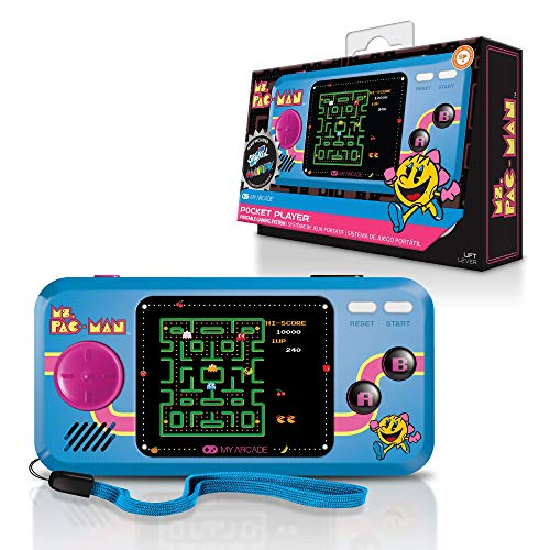 My Arcade Pocket Player Handheld Game Console: 3 Built In Games, Ms. Pac-Man, Sky Kid, Mappy, Collectible, Full Color Display, Speaker, Volume Controls, Headphone Jack, Battery or Micro USB Powered