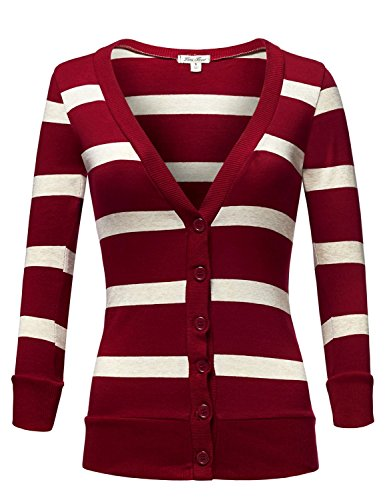 Deep V-neck 3/4 Sleeve Stripe Cardigans,004-Burgundy_Hbeige,US S