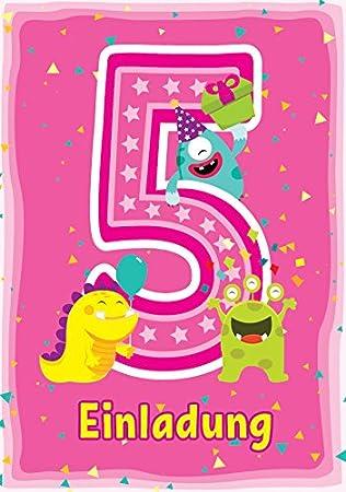 8 Einladungskarten 5 Kindergeburtstag Madchen Lustige Monster