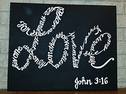 hand painted wooden wall hanging - John 3:16 - Bible verse - sign - rustic - word art - quote - wall decor - home decor - wall art - sign